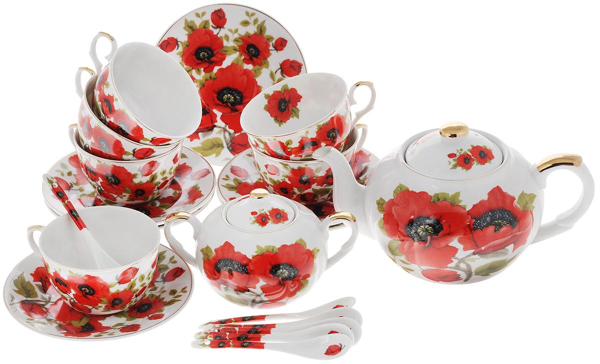 Набор чайный Elan Gallery Маки, 20 предметов180806Чайный набор Elan Gallery Маки состоит из 6 чашек, 6 блюдец, 6 ложек, заварного чайника и сахарницы. Изделия, выполненные из высококачественной керамики, имеют элегантный дизайн и классическую круглую форму.Такой набор прекрасно подойдет как для повседневного использования, так и для праздников. Чайный набор Elan Gallery Маки - это не только яркий и полезный подарок для родных и близких, но и великолепное дизайнерское решение для вашей кухни или столовой. Не рекомендуется использовать абразивные моющие средства. Не использовать в микроволновой печи.Объем чашки: 250 мл. Диаметр чашки (по верхнему краю): 9,5 см. Высота чашки: 6 см.Диаметр блюдца (по верхнему краю): 15 см.Высота блюдца: 2 см.Длина ложки: 12,5 см.Объем заварного чайника: 900 мл.Диаметр чайника (по верхнему краю): 8,5 см.Высота чайника (без учета крышки): 10 см. Высота фильтра: 5 см. Диаметр сахарницы (по верхнему краю): 6 см. Ширина сахарницы (с учетом ручек): 15,5 см. Высота сахарницы (без учета крышки): 7,5 см. Объем сахарницы: 400 мл.