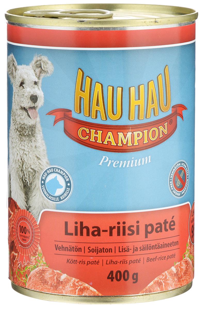 Консервы Hau-Hau Champion для собак, говядина с рисом, 400 г81193Консервы Hau-Hau Champion - это полноценный корм для собак любого возраста. Не содержит сои, пшеницы, пищевых добавок и красителей. Благодаря большому содержанию мяса продукт легко усваивается. Консервы можно давать собаке отдельно, так как они содержат все необходимые питательные вещества, или же смешивать с сухим кормом, чтобы сделать его еще более вкусным.Состав: мясо и продукты животного происхождения 95% (10% говядина), рис 4,1%, витамины и минералы.Питательная ценность: влажность 81%, белок 8,5%, масла и жиры 6%, пепел 2,5%, клетчатка 0,7%.Витамины и минералы: витамин А 3000 МЕ, витамин D3 300 МЕ, цинк 16 мг, железо 6,5 мг, медь 0,1 мг.Товар сертифицирован.