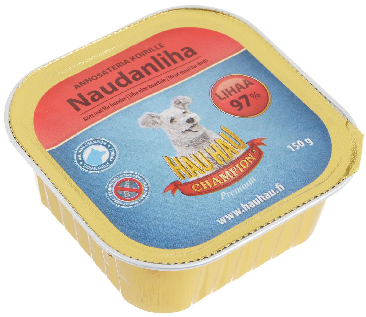 Консервы Hau-Hau Champion для собак, с говядиной, 150 г81203Консервы Hau-Hau Champion - это полноценный корм для собак любого возраста. Не содержит сои, пшеницы, пищевых добавок и красителей. Благодаря большому содержанию мяса продукт легко усваивается. Консервы можно давать собаке отдельно, так как они содержат все необходимые питательные вещества, или же смешивать с сухим кормом, чтобы сделать его еще более вкусным.Состав: мясо и продукты животного происхождения 97% (20% говядина), кукуруза, витамины и минералы.Питательная ценность: влажность 80%, белок 9%, масла и жиры 6%, пепел 3%, клетчатка 0,5%.Витамины и минералы: витамин А 3000 МЕ, витамин D3 300 МЕ, цинк 16 мг, железо 6,5 мг, медь 0,1 мг.Товар сертифицирован.Чем кормить пожилых собак: советы ветеринара. Статья OZON Гид