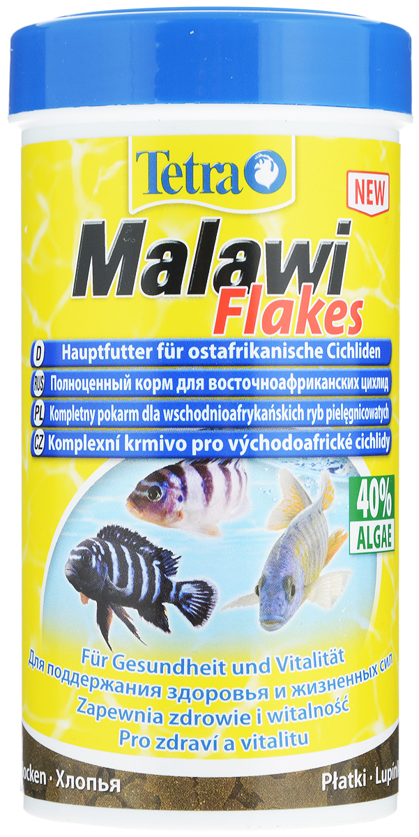 Корм для травоядных цихлид Tetra Malawi. Flakes, с водорослями, хлопья, 250 мл (93 г) корм tetra cichlid xl flakes premium food for all cichlids крупные хлопья для всех видов цихлид 1л 204294
