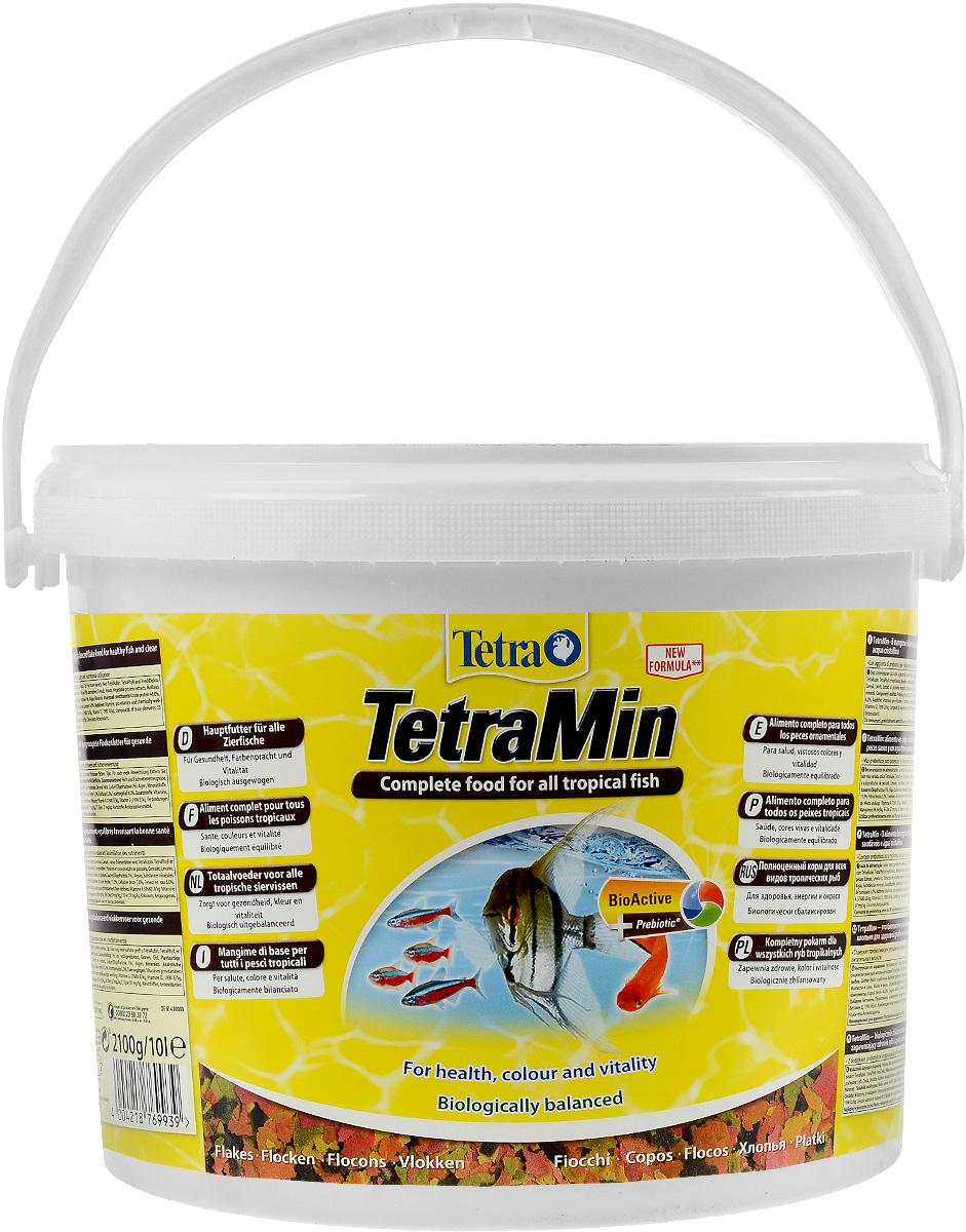 Корм Tetra TetraMin для всех видов тропических рыб, крупные хлопья, 10 л (2,1 кг) корм tetra tetramin для всех видов тропических рыб хлопья 63 г