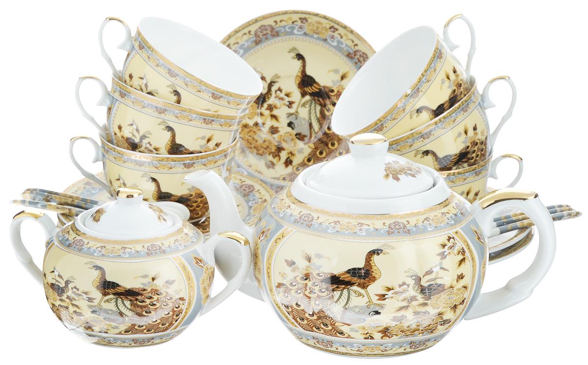 Набор чайный Elan Gallery Павлин на бежевом, 20 предметов180807Чайный набор Elan Gallery Павлин на бежевом состоит из 6 чашек, 6 блюдец, 6 ложек, заварного чайника и сахарницы. Изделия, выполненные из высококачественной керамики, имеют элегантныйдизайн и классическую круглую форму.Такой набор прекрасно подойдет как для повседневного использования, так и дляпраздников. Чайный набор Elan Gallery Павлин на бежевом - это не только яркий и полезный подарок дляродных иблизких, но и великолепное дизайнерское решение для вашей кухни илистоловой. Не рекомендуется использовать абразивные моющие средства.Не использовать в микроволновой печи.Объем чашки: 250 мл. Диаметр чашки (по верхнему краю): 9,5 см. Высота чашки: 6 см.Диаметр блюдца (по верхнему краю): 15 см.Высота блюдца: 2 см.Длина ложки: 12,5 см.Объем заварного чайника: 900 мл.Диаметр (по верхнему краю): 8,5 см.Высота чайника (без учета крышки): 10,5 см. Диаметр сахарницы (по верхнему краю): 6 см. Ширина сахарницы (с учетом ручек): 15,5 см. Высота сахарницы (без учета крышки): 8 см.