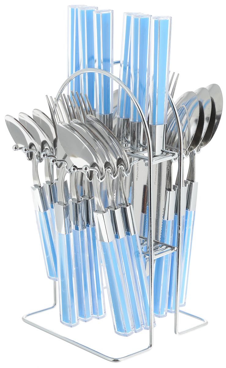 """Набор столовых приборов """"Mayer & Boch"""" выполнен из прочной полированной нержавеющей стали и высококачественного пластика. В набор входят 6 столовых ложек, 6 вилок, 6 чайных ложек и 6 ножей. Приборы имеют прозрачные пластиковые ручки с вставками синего цвета. Прекрасное сочетание яркого дизайна и удобства использования предметов набора придется по душе каждому. Изделия расположены на металлической подставке, что удобно для хранения набора прямо на столе или столешнице.  Набор столовых приборов """"Mayer & Boch"""" подойдет как для ежедневного использования, так и для торжественных случаев. Длина ножа: 22,5 см. Длина лезвия: 10,5 см. Длина столовой ложки: 20 см. Длина вилки: 21 см. Длина чайной ложки: 16 см. Размер подставки: 12,5 x 12 x 23 см."""