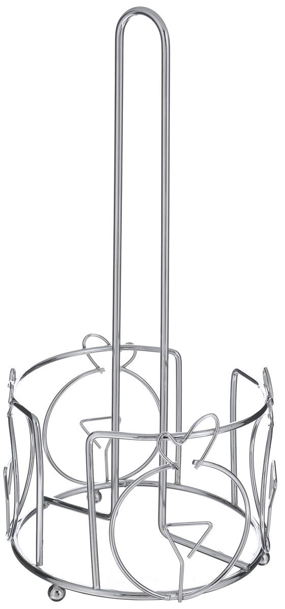 Подставка для бумажных полотенец Mayer & Boch, высота 31 см20102Подставка для бумажных полотенец Mayer & Boch выполнена из хромированной стали. Круглое основание на ножках обеспечивает устойчивость. Изделие украшено изящными коваными элементами. Оригинальная подставка будет идеально смотреться в интерьере кухни или ванной.