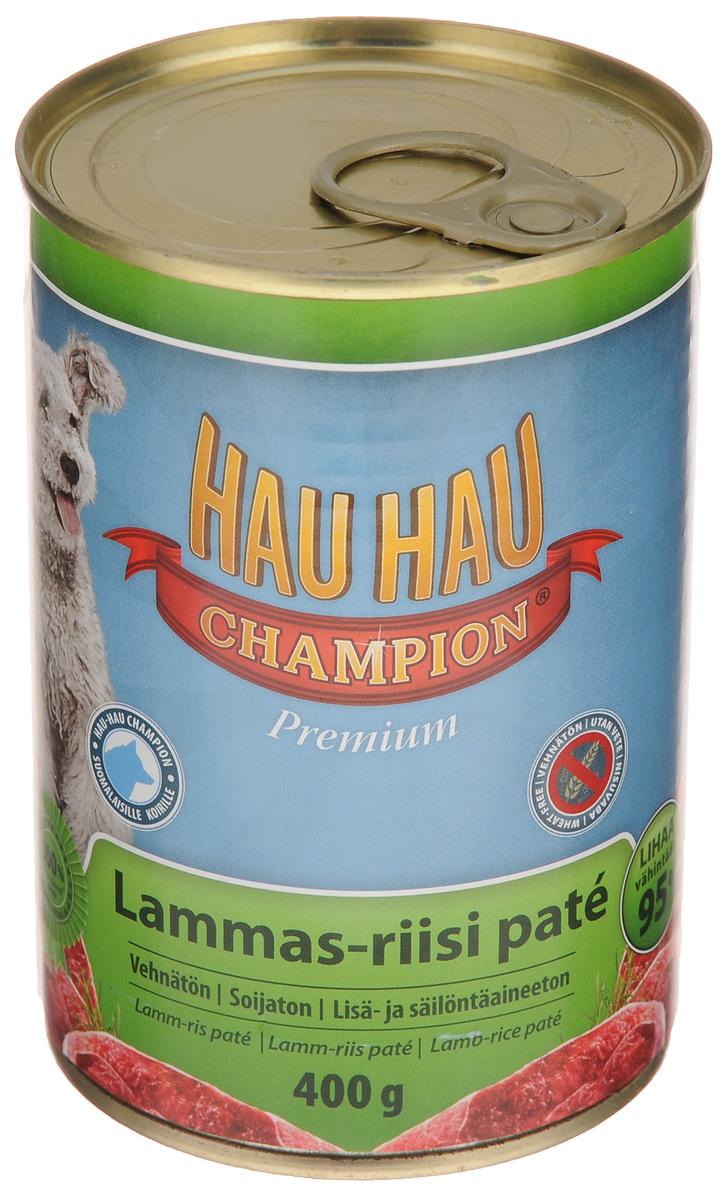 Консервы для собак Hau-Hau Champion, паштет из баранины с рисом, 400 г81196Консервы Hau-Hau Champion - нежнейший паштет из баранины с рисом. Это полноценный корм для собак любого возраста. Не содержит сои, пшеницы, пищевых добавок и красителей. Благодаря большому содержанию мяса продукт легко усваивается. Консервы можно давать собаке отдельно, так как они содержат все необходимые питательные вещества, или же смешивать с сухим кормом, чтобы сделать его еще более вкусным.Состав: мясо и продукты животного происхождения 95% (из которых баранина 10%), рис 4,1 %, витамины и минералы. Витамины и минералы на кг: витамин A 3 000 IU, витамин D3 300 IU, цинк (оксид цинка) 16 мг, железо (сульфат пенгидрат железа) 6,5 мг, медь (сульфат пенгидрат меди) 0,1 мг.Пищевая ценность: влажность 81 %, белки 8,5 %, масла и жиры 6 %, пепел 2,5 %, клетчатка 0,7 %.Товар сертифицирован.Чем кормить пожилых собак: советы ветеринара. Статья OZON Гид