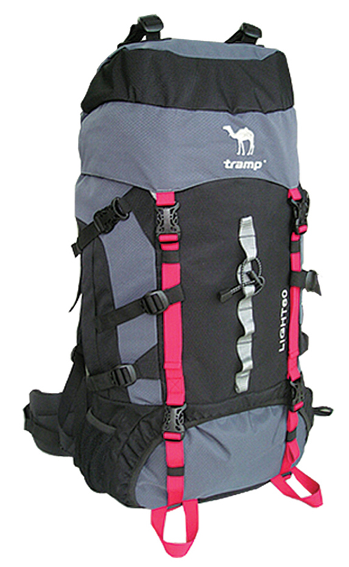 """Рюкзак туристический Tramp """"Light"""", цвет: черный, серый, 60 л"""