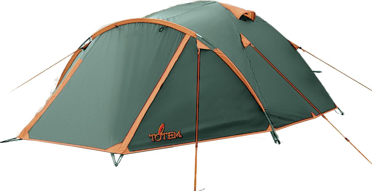 Палатка кемпинговая Тотеm Chinook 4, цвет: зеленый.TTT-004.09TTT-004.09Двухслойная палатка Тотеm идеальна для туристических походов в весеннее, летнее и осеннее время. Может пригодиться мотоциклистам и охотникам. Двухслойная кемпинговая палатка с большим тамбуром и двумя вентиляционными клапанами.Вход спального отделения продублирован москитной сеткой. Все швы проклеены.Размер: 250 х 330 см. Количество мест: 4. Тент: полиэстер. Внутренняя палатка: дышащий полиэстер. Каркас: фибергласс 7,9 мм. Дно: армированный полиэтилен (терпаулинг). Количество входов: 1. Полный вес: 3,2 кг. Количество тамбуров: 1.Размер спального места: 210 х 240 см.Высота: 140 см. Размер тамбура: 120 см.