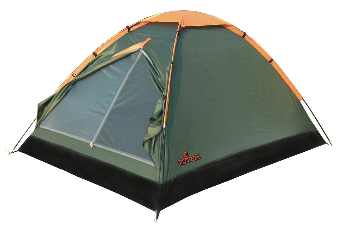 Палатка кемпинговая Тотеm Summer 2, цвет: зеленый. TTT-002.09TTT-002.09Однослойная палатка Тотеm идеальна для туристических походов в весеннее, летнее и осеннее время. Может пригодиться мотоциклистам и охотникам. Вход спального отделения продублирован москитной сеткой, имеется вентиляционный клапан. Все швы проклеены.Размер: 150 х 210 см. Количество мест: 2. Тент: полиэстер. Каркас: фибергласс 7,9 мм. Дно: армированный полиэтилен (терпаулинг). Количество входов: 1. Полный вес: 1,8 кг. Размер спального места: 210 х 150 см.Высота: 120 см.