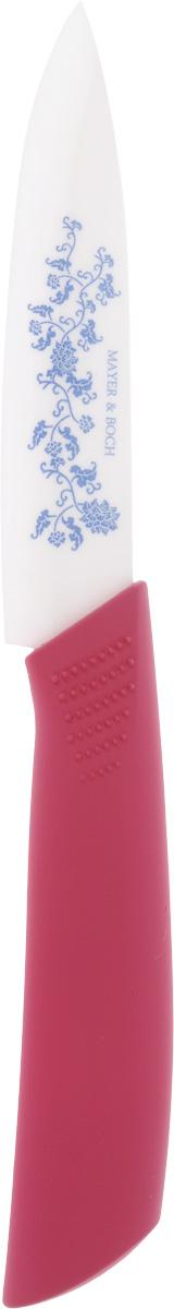 Нож универсальный Mayer & Boch, керамический, цвет: малиновый, длина лезвия 10,2 см21832_малиновыйУниверсальный нож Mayer & Boch изготовлен из высококачественной керамики - гигиеничного,экологически чистого материала. Нож имеет острое лезвие, не требующее дополнительнойзаточки. Эргономичная рукоятка выполнена из термопластика. Рукоятка не скользит в руках и делает резку удобной и безопасной. Такой нож подойдетдля нарезки любых овощей, мяса без костей, рыбы и других продуктов. Керамика - это отличная альтернатива металлу. В отличие от стальных ножей, керамическиеножи не переносят ионы металла в пищу, не разрушаются от кислот овощей и фруктов и никогдане заржавеют. Этот нож будет служить вам многие годы при соблюдении простых правил.Используйте только деревянную или пластиковую доску для нарезки. Избегайте мраморных,стеклянных, металлических и кафельных поверхностей. Не используйте керамический нож длярезьбы по дереву (камню, металлу), обвалки мяса, нарезания замороженных продуктов и сыра.Допускается мытье в горячей воде с моющими средствами. Ввиду хрупкости материала,используйте нож бережно.Общая длина ножа: 20 см.