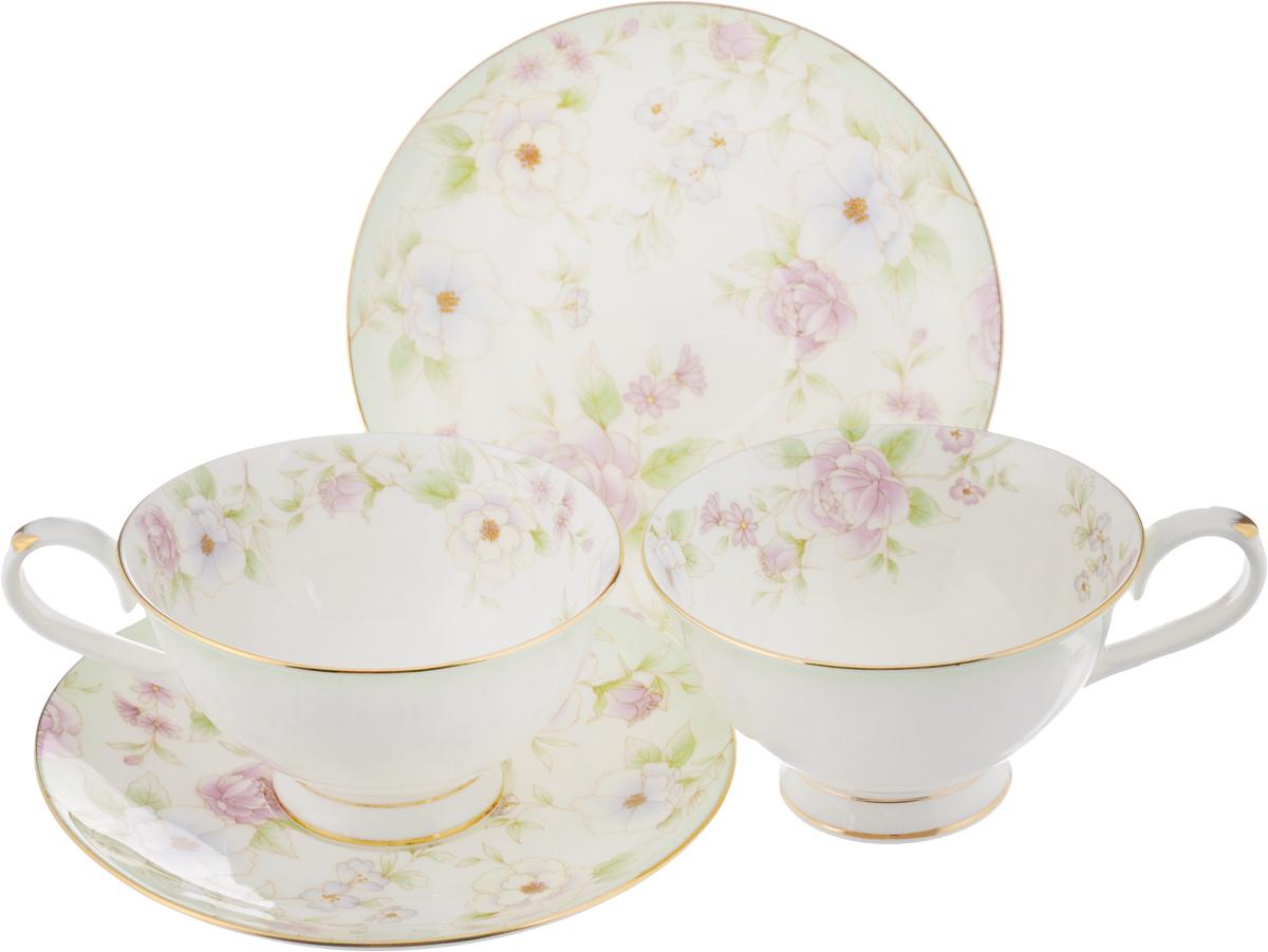 Набо чайный Elan Gallery Карнавал цветов, 4 предмета530040Чайный набор Elan Gallery Карнавал цветов состоит из 2 чашек и 2 блюдец,изготовленных из высококачественной керамики. Предметы набора декорированы золотистой окантовкой и изображением цветов.Чайный набор Elan Gallery Карнавал цветов украсит ваш кухонный стол, а такжестанет замечательным подарком друзьям и близким.Набор упакован в подарочную коробку с атласной подложкой. Не рекомендуется применять абразивные моющие средства. Не использовать в микроволновой печи.Объем чашки: 230 мл.Диаметр чашки по верхнему краю: 10,5 см.Высота чашки: 6 см.Диаметр блюдца: 15 см.