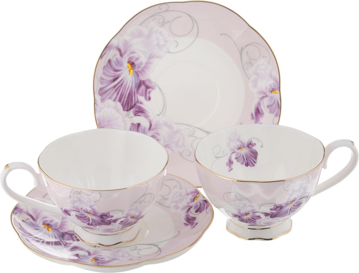 Набор чайный Elan Gallery Ирисы, 4 предмета набор чайный декостек живая природа подсолнух 4 предмета 1919596