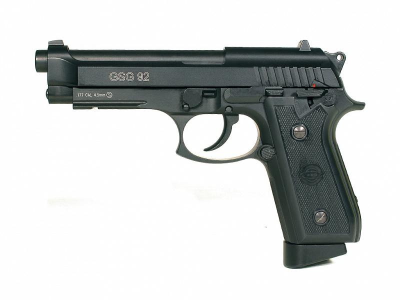 Пистолет пневматический Cybergun GSG-92 (Beretta 92). 138500138500Пневматический пистолет GSG-92 является боевым прототипом - Beretta PT 92. Свою историю компания Cybergun начала в 1983 году. Долгое время компания являлась одним из лидеров по производству и продажестрайкбольного оружия. С 2003 года компания Cybergun начала производить пневматические пистолеты калибра 4,5 мм, которые копируюторигинальный дизайн огнестрельных моделей оружия. Так появились на свет пневматические модели, которые, пользуются популярностью упользователей. Разработка нового пистолета для итальянских вооруженных сил была начата в 1970 году. В 1975 г. образец, в основе которого был немецкийпистолет Р38, был принят к дальнейшей разработке под индексом 92 (9-мм пистолет 2-я модель). Пистолет серийно производился с 1976 годаи в последствии множество раз модернизировался. Модели 92S, 92SB, 92F и 92FS вот далеко не полный перечень модификаций этогознаменитого пистолета. Модель 92FS была принята на вооружение армии США под индексом M9. Пистолет имеет хорошо знакомый современному стрелку внешний вид, с открытым сверхузатвором, что является отличительной особенностью семейства пистолетов Beretta. Бразильская фирма Taurus производила по лицензии 92-юмодель под индексом PT 92 и внесла в ее конструкцию ряд изменений. Модель GSG-92 является копией пистолета PT 92. Магазин большойемкости позволяет вести продолжительную стрельбу без перезарядки, система blowback имитирует работу подвижных частей реальногообразца и дарит ощущение отдачи при стрельбе. Характеристики пистолета: - материал: металл - принцип действия: газобаллонная пневматика с имитацией отдачи (BlowBack) - баллон: СО2, 12 г - калибр: 4,5 мм - тип снаряда: шарики, 4,5 мм - емкость магазина: 21 шарик - дульная энергия: до 3 Дж - скорость снаряда: 95 м/с - принцип действия: полуавтоматический - система стабилизации шарика: BAXs - спусковой механизм: самовзводный - длина пистолета: 217 мм - опасная дистанция: 60 м - вес пистолета без магазина: 84