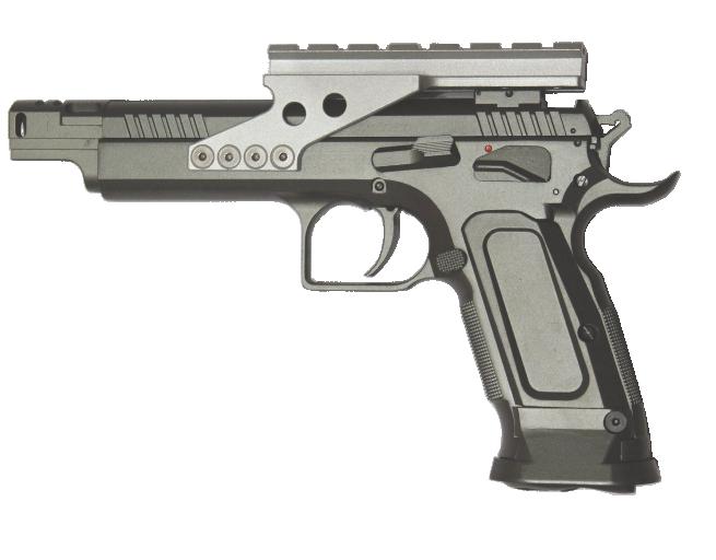 Пистолет пневматический Tanfoglio Gold Custom. 358004358004В пистолетах открытого класса IPSC практически нет ограничений. Самые смелыеконструктивные решения находят свое применение в технически совершенных пистолетахоткрытого класса. Таков и GOLD CUSTOM ERIC 2007 - самая совершенная спортивная моделькомпании Fratelli Tanfoglio s.r.l. Утяжеленный ствол с интегрированным компенсатором идополнительным 2-х камерным дульным компенсатором. Двухсторонние предохранитель,затворная задержка и перекидная защелка магазина позволяют уверенно использоватьпистолет любой рукой. Эргономичная рукоятка удобна для основных стрелковых хватов.Длинная рамка с парными направляющими имеет отверстия для крепления кронштейнаколлиматорного прицела. Длина хода спускового крючка может быть плавно отрегулирована в широком диапазоне. Приемник окна под магазинвыполнен в форме раструба для ускорения процедуры перезаряжания. Многие из техническихпреимуществ огнестрельной модели доступны и в пневматической версии. Та же удобнаярукоятка с двусторонними органами управления пистолетом, возможность установкиколлиматорного прицела, магазин большой емкости и удачная геометрия приемника длябыстрой перезарядки. Немного тренировки с этим пистолетом и Вы способны показыватьвысокие стрелковые результаты достойные оружия мирового чемпиона IPSC Эрика Грауфеля. Характеристики пистолета:- материал: металл - принцип действия: газобаллонная пневматика с имитацией отдачи (BlowBack)- баллон: СО2, 12 гр.- калибр: 4,5 мм - тип снаряда: шарики, 4,5 мм - емкость магазина: 20 шариков - дульная энергия: до 3 Дж - скорость снаряда: 91 м/с - принцип действия: полуавтоматический - система стабилизации шарика: Spin Up (Hop Up)- спусковой механизм: самовзводный - длина пистолета: 250 мм - опасная дистанция: 60 м - вес пистолета без магазина: 1095 гр.- вес пистолета без упаковки: 1344 гр.- вес с упаковкой: 1730 гр.- размер упаковки (ДхШхВ): 32х21х6 см Комплектация:- пистолет - магазин - шарики - поджимной винт - 2 ключа (шестигран