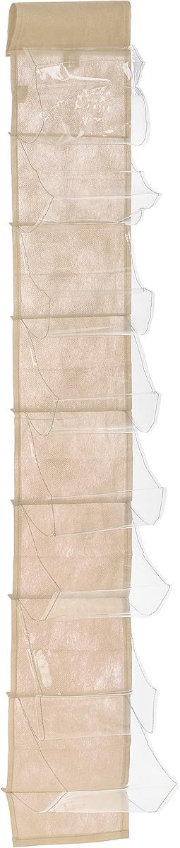 Чехол-карман для мелочей Eva, подвесной, цвет: бежевый, 120 х 16 смЕ41_бежевыйПодвесной чехол-карман Eva, выполненный из спанбонда и ПВХ, предназначен для хранения мелочей. Изделие оснащено 8 вместительными карманами. С помощью специальной петельки и липучек чехол можно разместить на стене, за дверью или в шкафу. Особая конструкция позволяет, при необходимости, одним движением сложить или разложить полку. .С таким чехлом-карманом вы сможете поддерживатьпорядок в доме и решить проблему хранения одежды, игрушек и разбросанных мелочей...Размер чехла: 120 х 16 см..Количество карманов: 8 шт.