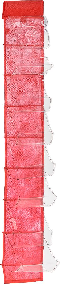 Чехол-карман для мелочей Eva, подвесной, цвет: красный, 120 х 16 смЕ41_красныйПодвесной чехол-карман Eva, выполненный из спанбонда и ПВХ, предназначен для хранения мелочей. Изделие оснащено 8 вместительными карманами. С помощью специальной петельки и липучек чехол можно разместить на стене, за дверью или в шкафу. Особая конструкция позволяет, при необходимости, одним движением сложить или разложить полку. .С таким чехлом-карманом вы сможете поддерживатьпорядок в доме и решить проблему хранения одежды, игрушек и разбросанных мелочей...Размер чехла: 120 х 16 см..Количество карманов: 8 шт.