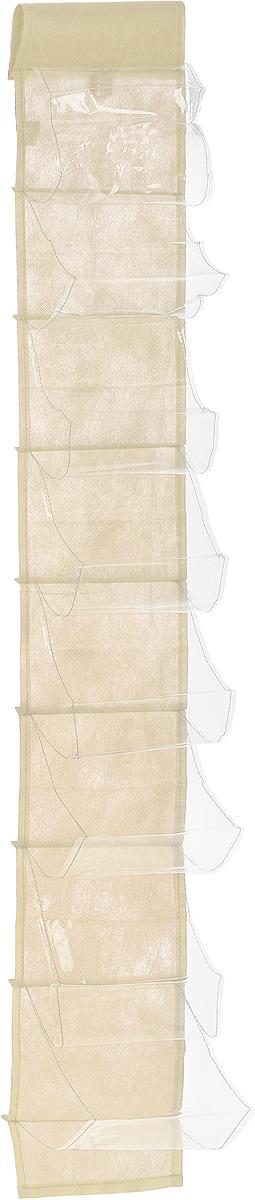 Чехол-карман для мелочей Eva, подвесной, цвет: молочный, 120 х 16 смЕ41_молочныйПодвесной чехол-карман Eva, выполненный из спанбонда и ПВХ, предназначен для хранения мелочей. Изделие оснащено 8 вместительными карманами. С помощью специальной петельки и липучек чехол можно разместить на стене, за дверью или в шкафу. Особая конструкция позволяет, при необходимости, одним движением сложить или разложить полку. .С таким чехлом-карманом вы сможете поддерживатьпорядок в доме и решить проблему хранения одежды, игрушек и разбросанных мелочей...Размер чехла: 120 х 16 см..Количество карманов: 8 шт.