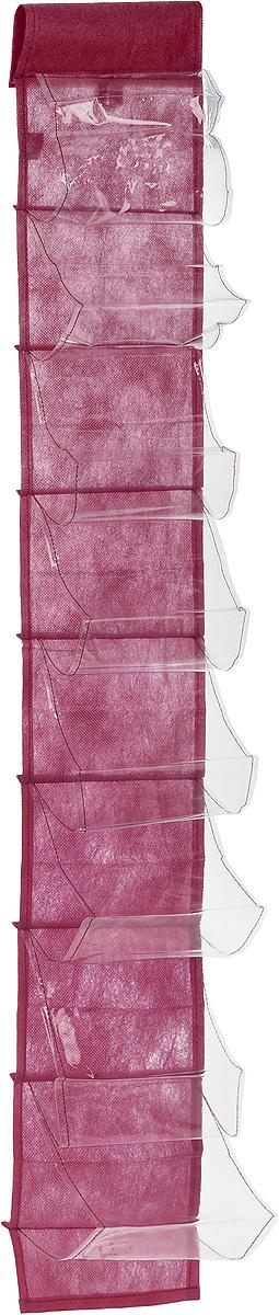 Чехол-карман для мелочей Eva, подвесной, цвет: бордовый, 120 х 16 смЕ41_бордовыйПодвесной чехол-карман Eva, выполненный из спанбонда и ПВХ, предназначен для хранения мелочей. Изделие оснащено 8 вместительными карманами. С помощью специальной петельки и липучек чехол можно разместить на стене, за дверью или в шкафу. Особая конструкция позволяет, при необходимости, одним движением сложить или разложить полку. .С таким чехлом-карманом вы сможете поддерживатьпорядок в доме и решить проблему хранения одежды, игрушек и разбросанных мелочей...Размер чехла: 120 х 16 см..Количество карманов: 8 шт.