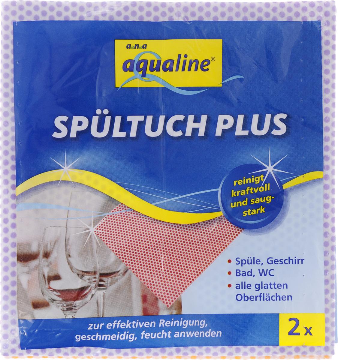 Салфетка Aqualine Plus для посуды и домашнего хозяйства, цвет: оранжевый, сиреневый, 35 х 38 см, 2 шт2058_оранжевый,сиреневыйМягкая салфетка Aqualine Plus обладает высокими чистящими свойствами за счет специальных точек, которые находятся на поверхности ткани. Она прекрасно подходит как для мытья посуды, так и для уборки поверхностей на кухне и в ванной комнате. Благодаря рифленой структуре салфетка удаляет даже самые сильные загрязнения, хорошо впитывая жидкость, не оставляя ворсинок.Состав: 82% вискоза, 18% полипропилен.