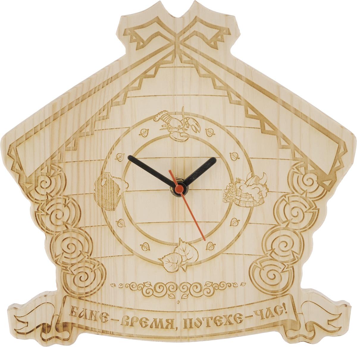 Часы настенные Доктор баня Домик, для бани и сауны. 904727904727_дизайн 2Настенные часы Доктор баня, выполненные из дерева в виде домика, подчеркнут оригинальность интерьера вашей бани или сауны. Изделие декорировано фигурной резьбой. Циферблат оформлен изображением рака, пивной кружки, листьев и ушата с веником. Часы имеют три стрелки - часовую, минутную и секундную. Внизу расположена надпись: Бане - время, потехе - час!.Такие часы отлично дополнят интерьер бани и послужат прекрасным подарком для всех ценителей банных процедур.С обратной стороны часов имеется отверстие для подвешивания на стену. Часы работают от 1 батарейки типа АА (в комплект не входит).
