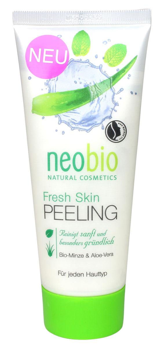 Neobio ФРЕШ СКИН Средство для пилинга лица, 100 мл1106339622Neobio Fresh Skin средство для пилингс био-мятой и алоэ вера. Для всех типов кожи. Очищает мягко и особенно тщательно.Средство для пилинга NEOBIO подготавливает кожу к последующему уходу. Органический экстракт алоэ вера обеспечивает оптимальный баланс влаги в глубоких слоях кожи. Био-мята оживляет и успокаивает кожу, делая ее гладкой и свежей.