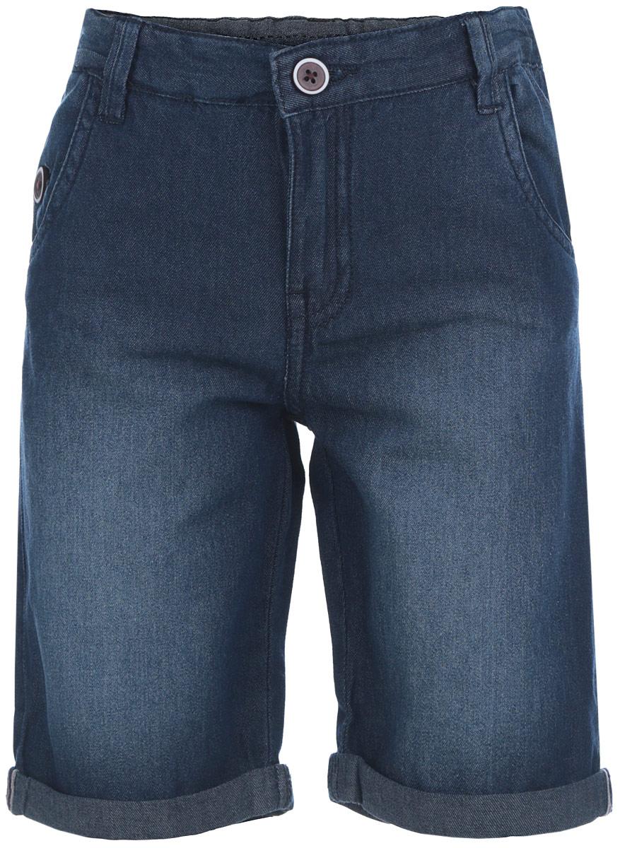Шорты для мальчика Sela Denim, цвет: темно-синий джинс. SHJ-735/019-6253. Размер 104, 4 годаSHJ-735/019-6253Стильные шорты для мальчика Sela прекрасно подойдут вашему ребенку и станут отличным дополнением к летнему гардеробу. Изготовленные из натурального хлопка, они мягкие и приятные на ощупь, не сковывают движения и позволяют коже дышать, не раздражают нежную кожу ребенка, обеспечивая ему наибольший комфорт. Шорты на талии застегиваются на металлическую пуговицу, также имеются шлевки для ремня и ширинка на металлической застежке-молнии. С внутренней стороны пояс регулируется скрытой резинкой на пуговицах. Спереди модель дополнена двумя втачными карманами с косыми краями и одним врезным кармашком на застежке-пуговице, а сзади - двумя накладными карманами на застежках-пуговицах. Низ штанин дополнен декоративными отворотами.В таких шортах ваш маленький мужчина будет чувствовать себя комфортно, уютно и всегда будет в центре внимания!