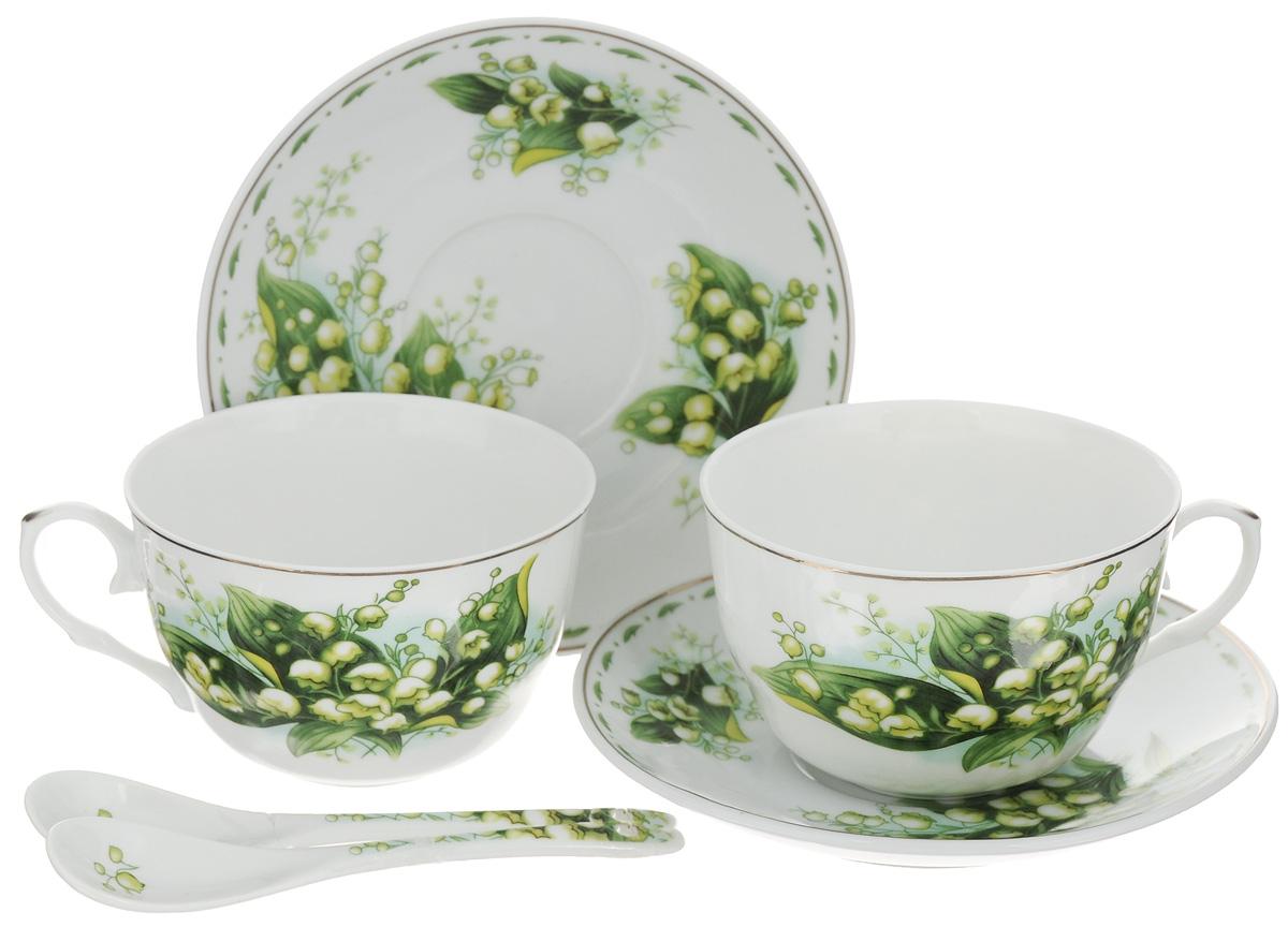 Набор чайных пар Elan Gallery Ландыши, 6 предметов730487Набор чайных пар Elan Gallery Ландыши состоит из 2 чашек, 2 ложек и 2 блюдец. Предметы набора выполнены из высококачественной керамики и оформлены изящным изображением цветов. Оригинальный дизайн, несомненно, придется вам по вкусу.Набор чайных пар Elan Gallery Ландыши украсит ваш кухонный стол, а также станет замечательным подарком к любому празднику. Не рекомендуется применять абразивные моющие средства. Не использовать в микроволновой печи.Объем чашки: 250 мл.Диаметр чашки (по верхнему краю): 9,5 см.Диаметр основания чашки: 4 см.Высота чашки: 7 см.Диаметр блюдца: 14 см.Высота блюдца: 2 см.Длина ложки: 12,5 см.