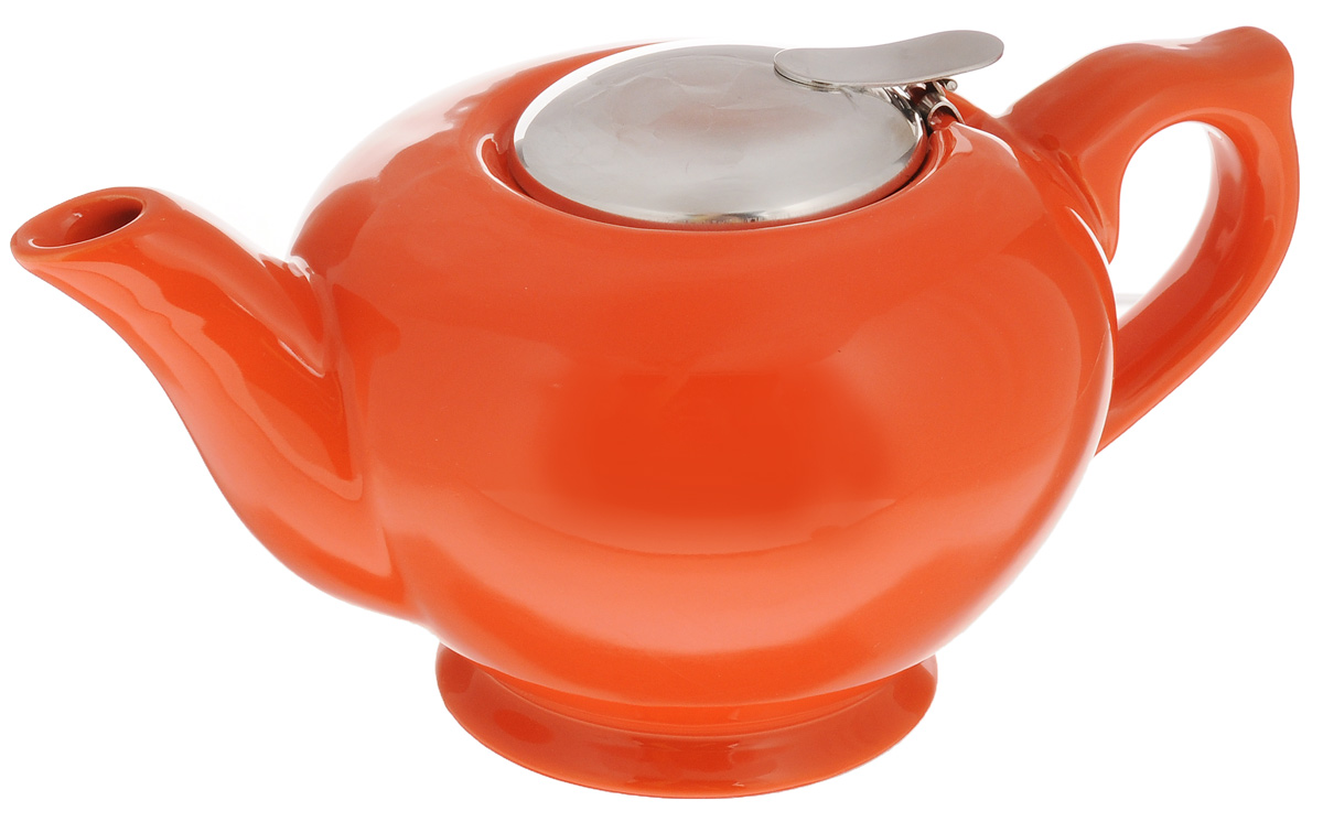 Чайник заварочный Loraine, с фильтром, цвет: оранжевый, 900 мл23059_оранжевыйЗаварочный чайник Loraine изготовлен извысококачественной керамики и снабжен крышкой из нержавеющейстали. Изделие оснащено фильтром, благодарякоторому задерживает чаинки и предотвращаетих попадание в чашку. Глянцевый корпусобеспечивает легкую очистку. Чайник поможет заварить крепкий ароматныйчай и великолепно украсит стол к чаепитию.Диаметр чайника (по верхнему краю): 8 см.Высота чайника (без учета крышки): 10 см.Высота фильтра: 6,5 см.