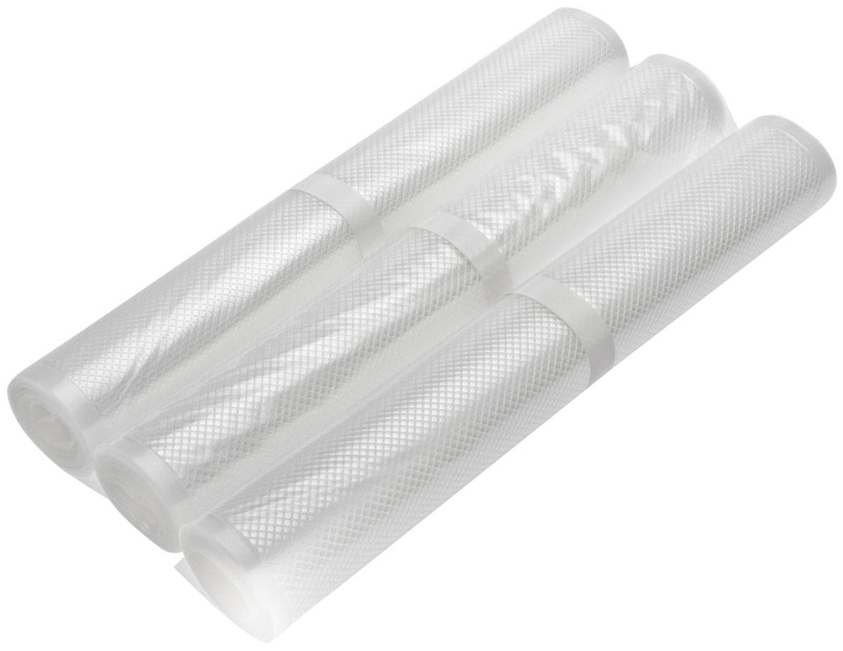 STATUS VB 28х300 рулоны для вакуумного упаковщика, 3 штVB 28*300-3Специальные прочные рулоны STATUS VB 28х300 для вакуумного упаковщика, одна из сторон с ребристой структурой. Высокая прочность допускает замораживание, использование в СВЧ печи, готовку по технологии Sous-Vide.Длина рулона: 3 м