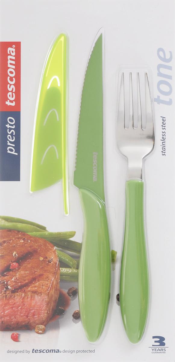 Набор столовых приборов Tescoma Presto Tone, цвет: салатовый, 3 предмета. 863140863140Набор столовых приборов Tescoma Presto Tone состоит из ножа для стейка, вилки и чехла для ножа. Столовые приборы выполнены из высококачественной нержавеющей стали. Рукоятки приборов и чехол изготовлены из пластика. Лезвие ножа имеет неприлипающую поверхность.Прекрасное сочетание свежего дизайна и удобство использования предметов набора придется по душе каждому. Можно мыть в посудомоечной машине.Общая длина ножа: 23 см.Длина лезвия ножа: 11,5 см.Общая длина вилки: 20 см.Размер чехла для ножа: 13,5 х 2,5 см.