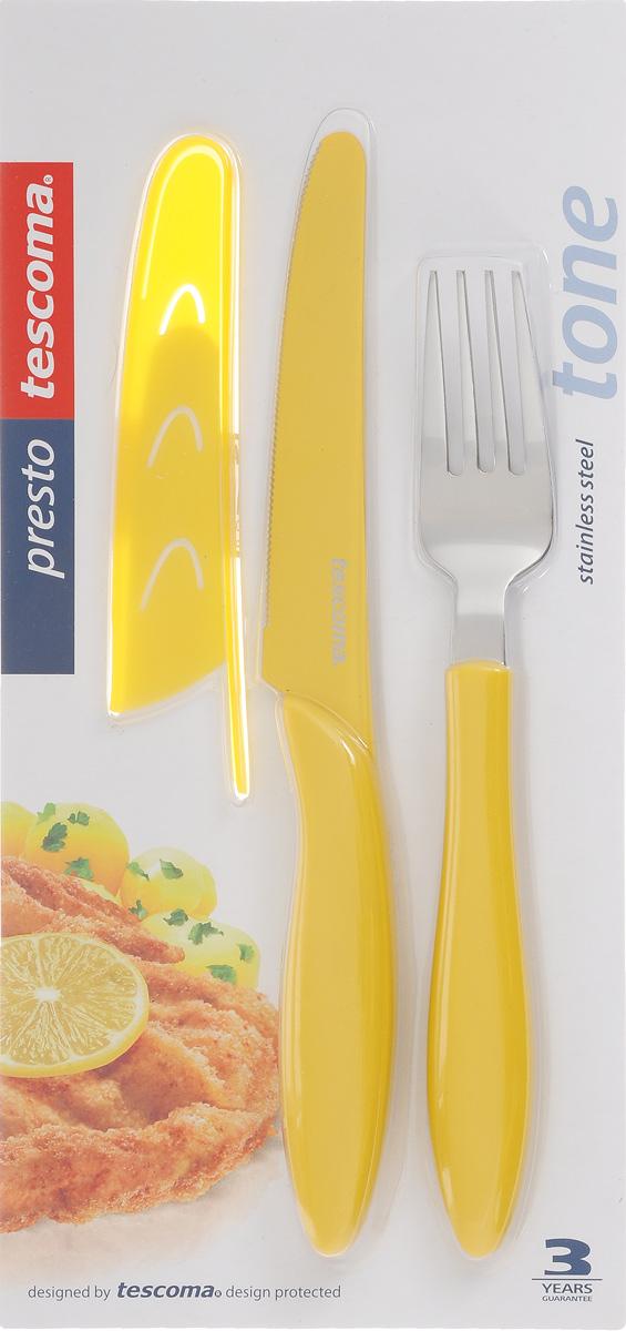 Набор столовых приборов Tescoma Presto Tone, цвет: желтый, 3 предмета. 863144863144Набор столовых приборов Tescoma Presto Tone состоит из ножа, вилки и чехла для ножа. Столовые приборы выполнены из высококачественной нержавеющей стали. Рукоятки приборов и чехол изготовлены из пластика. Лезвие ножа имеет неприлипающую поверхность.Прекрасное сочетание свежего дизайна и удобство использования предметов набора придется по душе каждому. Можно мыть в посудомоечной машине.Общая длина ножа: 23 см.Длина лезвия ножа: 11,5 см.Общая длина вилки: 20 см.Размер чехла для ножа: 13 х 2,5 см.