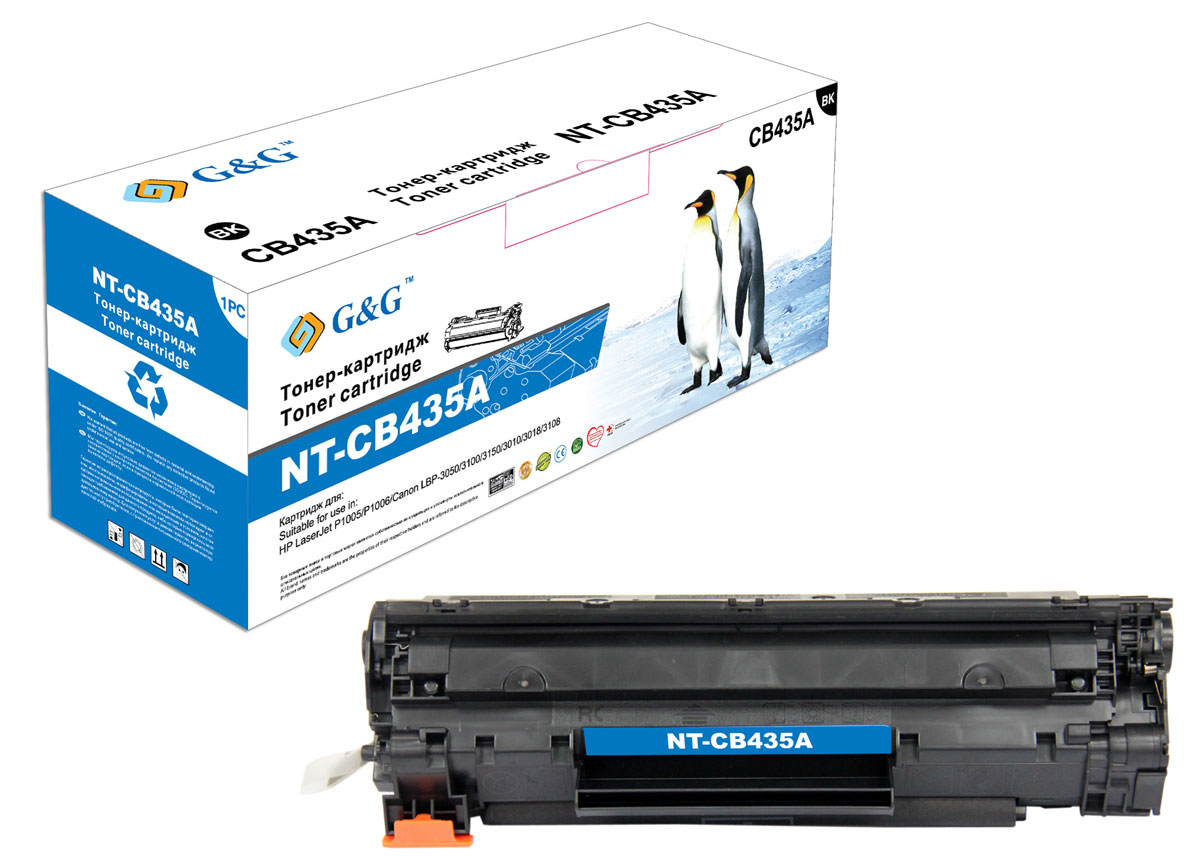 G&G NT-CB435A тонер-картридж для HP LaserJet P1005/1006/Canon LBP-3010/3100/3050/3150/3018 10x rl1 1442 000 rl1 1443 000 paper pickup roller for hp p1005 p1006 p1007 p1008 p1009 ml1666 lbp 3150 3108 3100 3050 3018 3010