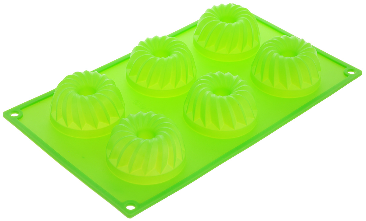 Форма для выпечки Marmiton Кекс, силиконовая, цвет: зеленый, 29 х 17 х 3 см, 6 ячеекV21300Форма для выпечки Marmiton Кекс, выполненная из силикона, будет отличным выбором для всехлюбителей бисквитов и кексов. Ячейки имеют форму кексов. Форма обладает естественнымиантипригарными свойствами. Неприлипающая поверхностьидеальна для духовки, морозильника, микроволновой печи иаэрогриля. Готовую выпечку или мармелад вынимать легко ипросто.С такой формой вы всегда сможете порадовать своихблизких оригинальным изделием.Материал устойчив к фруктовым кислотам, может бытьиспользован в духовках и микроволновых печах (выдерживаеттемпературу от 230°C до - 40°C). Можно мыть и сушить впосудомоечной машине. Размер формы для выпечки: 29 х 17 х 3 см.Размер ячеек: 6,5 х 6,5 х 3 см.