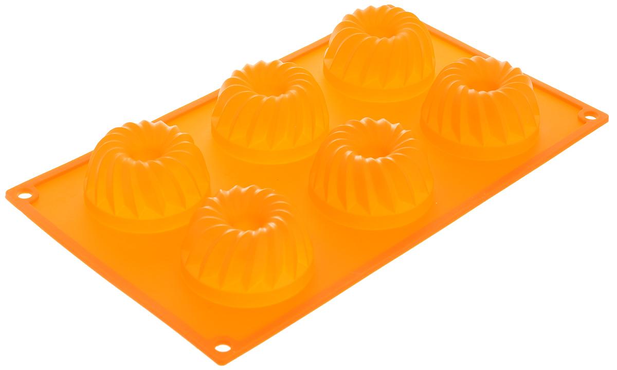 Форма для выпечки Marmiton Кекс, силиконовая, цвет: оранжевый, 29 х 17 х 3 см, 6 ячеек16024_оранжевыйФорма для выпечки Marmiton Кекс, выполненная из силикона, будет отличным выбором для всех любителей бисквитов и кексов. Ячейки имеют форму кексов. Форма обладает естественными антипригарными свойствами. Неприлипающая поверхность идеальна для духовки, морозильника, микроволновой печи и аэрогриля. Готовую выпечку или мармелад вынимать легко и просто.С такой формой вы всегда сможете порадовать своих близких оригинальным изделием. Материал устойчив к фруктовым кислотам, может быть использован в духовках и микроволновых печах (выдерживает температуру от 230°C до - 40°C). Можно мыть и сушить в посудомоечной машине.Размер формы для выпечки: 29 х 17 х 3 см. Размер ячеек: 6,5 х 6,5 х 3 см.