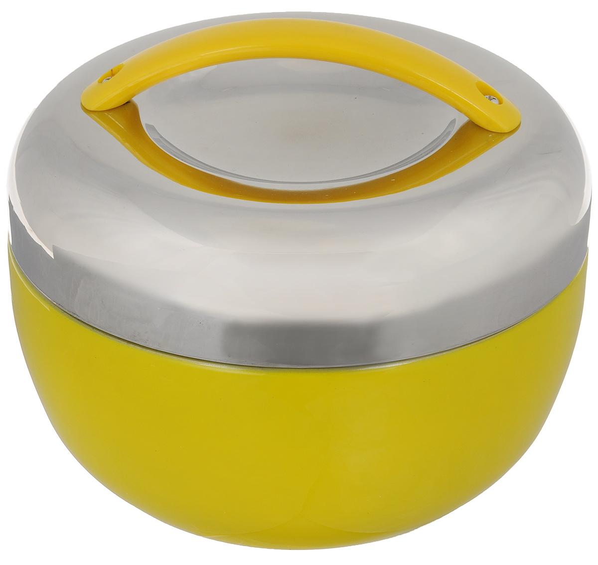 Термос для еды Mayer & Boch, цвет: желтый, стальной, 1,3 л20688_желтыйТермос с широким горлом Mayer & Boch выполнен из высококачественной нержавеющей стали. Термос прост в использовании и очень функционален. В комплекте металлическая миска. Термос оснащен пластиковой ручкой для удобной переноски.Легкий и прочный термос Mayer & Boch сохранит вашу еду горячей или холодной надолго.Можно мыть в посудомоечной машине.Сохранение температуры: 4-6 часов.Высота (с учетом крышки): 13 см.Диаметр по верхнему краю: 16,5 см.Диаметр дна: 11 см.Размер контейнера: 15,5 х 15,5 х 2,5 см.