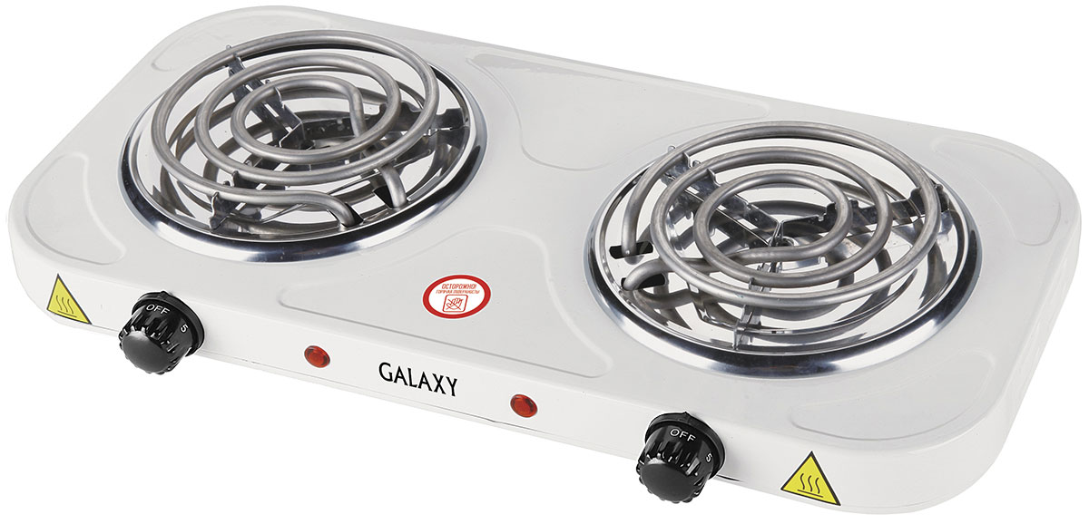 Galaxy GL 3004 плитка электрическая4630003366290Надежная электроплита Galaxy GL 3004 с двумя конфорками диаметром по 14 см. Идеальна для дома и дачи, в любое время года. Компактный корпус, покрытый эмалью, позволяет легко мыть и ухаживать за прибором. Имеет регулятор нагрева и индикацию включения. Данная модель обладает суммарной мощностью 2000 Вт, что позволяет за несколько минут разогреть обед или вскипятить чайник с водой.Длина шнура питания: 0,8 м
