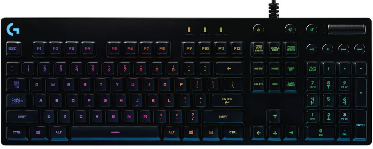 Logitech G810 Orion Spectrum игровая клавиатура920-007750Logitech G810 Orion Spectrum позволяет полностью сосредоточиться на игре. В конструкции клавиатуры, предназначенной для выполнения динамичных операций, реализованы самые эффективные технологии. Все элементы тщательно продуманы: от мельчайших деталей, таких как матовая текстурная поверхность, на которой не видны отпечатки пальцев, и прочный кабель с оплеткой, до усовершенствованной цветной подсветки и ультрабыстрых сверхнадежных механических переключателей Romer-G. В уникальной конструкции воплощены новейшие технологии и высочайшее качество, присущее всем изделиям производства Logitech G.Технология, обеспечивающая долговечность и высокую скорость работы:Эксклюзивные механические переключатели Romer-G от компании Logitech срабатывают практически мгновенно — на 25 % быстрее, чем обычные механические переключатели. Это дает преимущество в скорости, ведь во время игры на счету каждая миллисекунда. Переключатели Romer-G протестированы в цикле 70 миллионов нажатий. Они на 40 % надежнее, чем стандартные механические переключатели для клавиатур.Полноспектральная цветная подсветка, расположенная по центру каждой клавиши:ПО Logitech Gaming Software позволяет задать уровень индивидуальной настройки и выбрать для каждой клавиши цвет подсветки из более чем 16,8 млн оттенков. Синхронизация световых эффектов с другими игровыми устройствами Logitech G, на которых установлено ПО Logitech Gaming Software. Выделив каждую клавишу отдельным цветом, вы сможете отслеживать заклинания и другие команды или изменять цвет подсветки в соответствии с выбранными настройками. В Orion Spectrum предусмотрено два типа подсветки — по центру и по периметру каждой клавиши. Благодаря этому символы на них легко читаются даже в темноте. В ПО Logitech Gaming Software предварительно загружены профили для более чем 300 игр.С Orion Spectrum победа гарантирована:Управляйте фоновыми композициями, не выходя из игры. Специальные кнопки управления мультимедиа