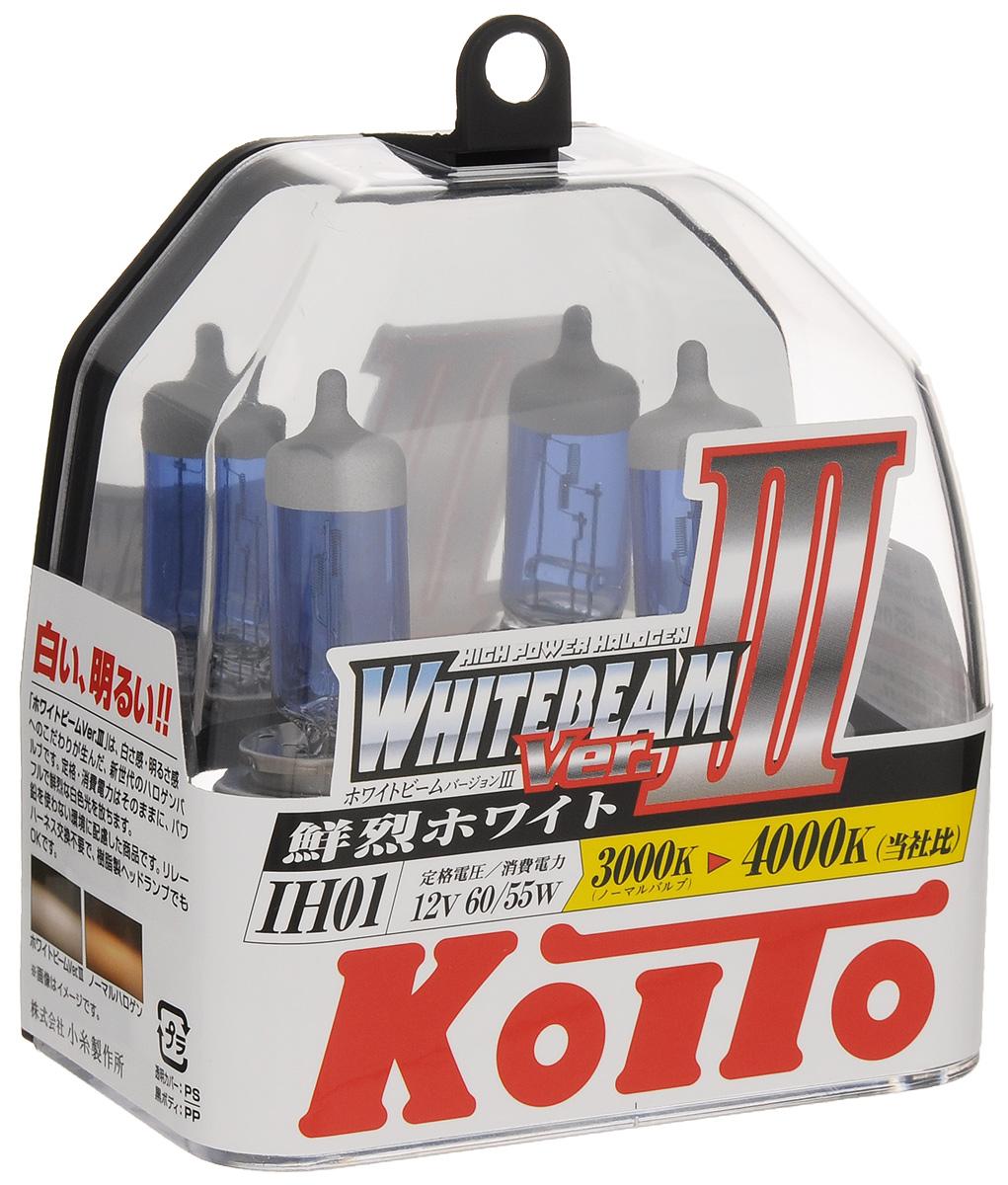 Лампа высокотемпературная Koito Whitebeam IH01 12V 60/55W (100/90W) пластиковая упаковка - 2 шт комплект P0745WP0745WЛампы KOITO Whitebeam являются вершиной развития технологий автомобильного освещения. Созданные с применением самых современных технологий и ноу-хау компании KOITO, разработанные на основе опыта поставок систем освещения крупнейшим мировым автопроизводителям, лампы серии Whitebeam III воплотили в себе весь опыт и достижения компании за почти вековую историю работы.Напряжение: 12 вольт. Цветовая температура: 4000К. Тип цоколя: IH01. Цвет света: белый. Технические характеристики: 12V 60/55W (светоотдача 100/90W. )