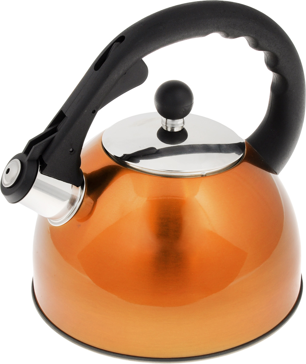 """Чайник """"Mayer & Boch"""" изготовлен из высококачественной нержавеющей стали. Внешнее цветное термостойкое покрытие корпуса придает изделию безупречный внешний вид. Изделие оснащено пластиковой ручкой эргономичной формы и свистком, который громко оповещает о закипании воды. Можно использовать на всех видах плит. Подходит для индукционных плит. Можно мыть в посудомоечной машине.Диаметр (по верхнему краю): 10 см.  Высота чайника (без учета ручки и крышки): 12 см.Высота чайника (с учетом ручки и крышки): 22 см."""