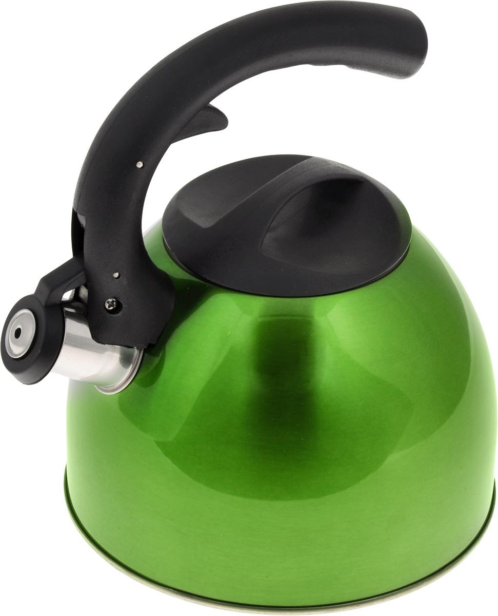 Чайник Mayer & Boch, со свистком, цвет: зеленый, 2,5 л. 2319723197_зеленыйЧайник Mayer & Boch изготовлен из высококачественной нержавеющей стали. Гладкая и ровная поверхность существенно облегчает уход. Чайник оснащен удобной нейлоновой ручкой, которая не нагревается даже при продолжительном периоде нагрева воды. Носик чайника имеет насадку-свисток, что позволит вам контролировать процесс подогрева или кипячения воды. Выполненный из качественных материалов, чайник Mayer & Boch при кипячении сохраняет все полезные свойства воды. Чайник пригоден для использования на всех типах плит, кроме индукционных. Можно мыть в посудомоечной машине. Высота стенок чайника: 12 см.Толщина стенок чайника: 2 мм.Высота чайника (с учетом ручки): 22,5 см.