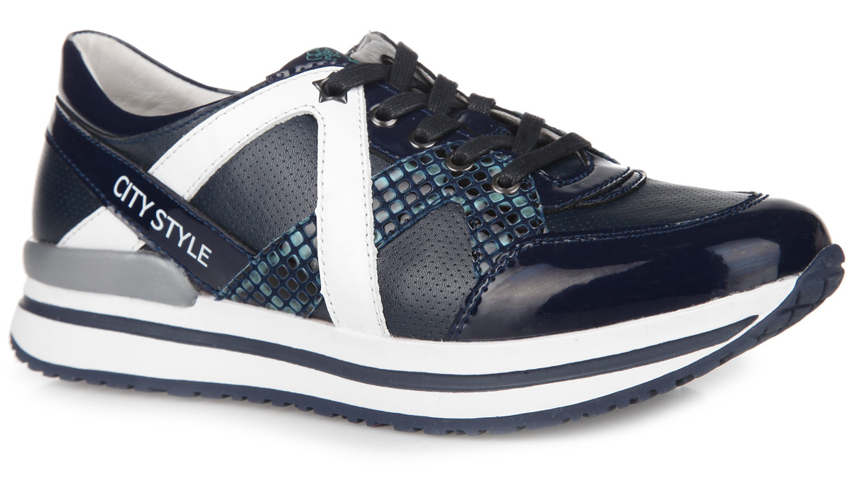 Кроссовки для девочки Kapika, цвет: темно-синий, белый. 24374-1. Размер 36