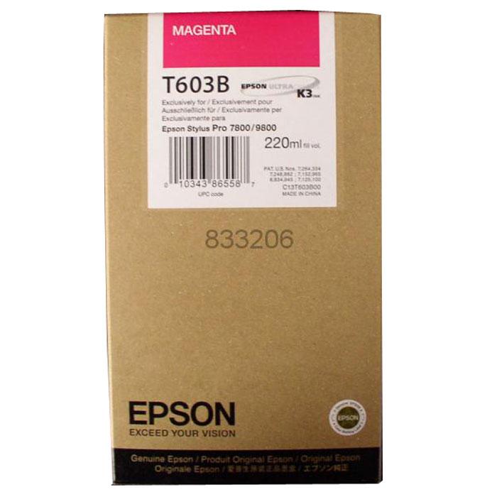 Epson T603B (C13T603B00), Magenta картридж для Stylus PRO 7800/9800C13T603B00Картридж Epson T603B для струйных принтеров Epson Stylus PRO 7800/9800.Расходные материалы Epson для печати максимизируют характеристики принтера. Обеспечивают повышенную четкость изображения и плавность переходов оттенков и полутонов, позволяют отображать мельчайшие детали изображения. Обеспечивают надежное качество печати.