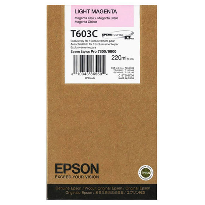 Epson T603C (C13T603C00), Light Magenta картридж для Stylus PRO 7800/9800 - Расходные материалы