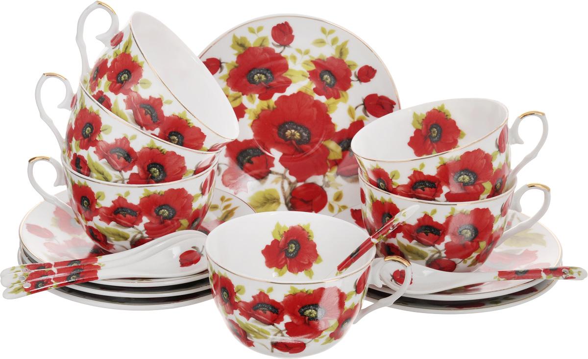 Набор чайный Elan Gallery Маки, с ложками, 18 предметов. 180789180789Чайный набор Elan Gallery Маки состоит из 6 чашек, 6 блюдец и 6 ложечек,изготовленных из высококачественной керамики. Предметы набора декорированы изображением цветов.Чайный набор Elan Gallery Маки украсит ваш кухонный стол, а такжестанет замечательным подарком друзьям и близким.Изделие упаковано в подарочную коробку с атласной подложкой. Не рекомендуется применять абразивные моющие средства. Не использовать в микроволновой печи.Объем чашки: 250 мл.Диаметр чашки по верхнему краю: 9,5 см.Высота чашки: 6 см.Диаметр блюдца: 15 см.Длина ложки: 12,5 см.
