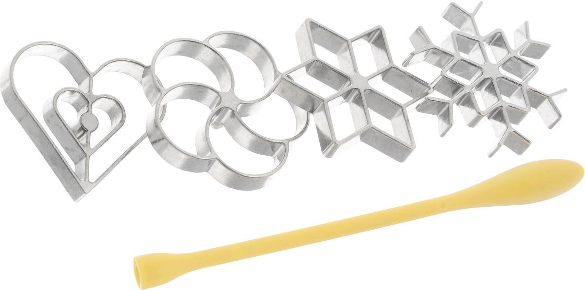 Набор форм для вафельного печенья Tescoma Delicia со съемной ручкой, 5 предметов630048Формы для вафельного печенья Tescoma Delicia выполнены из металла и предназначены для приготовления оригинальных жаренных сладких и соленых вафель из жидкого теста. Набор содержит 4 формочки в виде снежинки, звезды, сердца и цветка, а также универсальную съемную ручку из жаростойкого нейлона.Приготовление вафель:1. Вставьте ручку в формочку.2. Разогрейте масло в кастрюле до 180-200°С, нагрейте форму в течении минуты в масле, а потом дайте стечь излишкам масла с формы.3. Опустите форму до верхнего края в тесто, а потом в горячее масло.4. Вафля через некоторое время отпадет от формы.5. Переверните вафлю и обжарьте до золотистого цвета.Совет по приготовлении:Если во время жарки вафля не отпадает от формы, то подвигайте формой вверх и вниз в масле, в случае необходимости достаньте вафлю подходящим предметом, например вилкой.Важно:В горячее масло опускайте только металлическую форму. Нейлоновую ручку не допускается опускать в масло. Будьте осторожны - металлические формы во время использования становятся горячими.На упаковке имеются рецепты по приготовлению сладких и соленых вафель.Длина ручки: 18,5 см.Размер формы в виде снежинки: 7 х 7 х 1 см.Размер формы в виде сердца: 6,5 х 6 х 1 см.Размер формы в виде звезды: 7 х 7 х 1 см.Размер формы в виде цветка: 6,5 х 6 х 1 см.