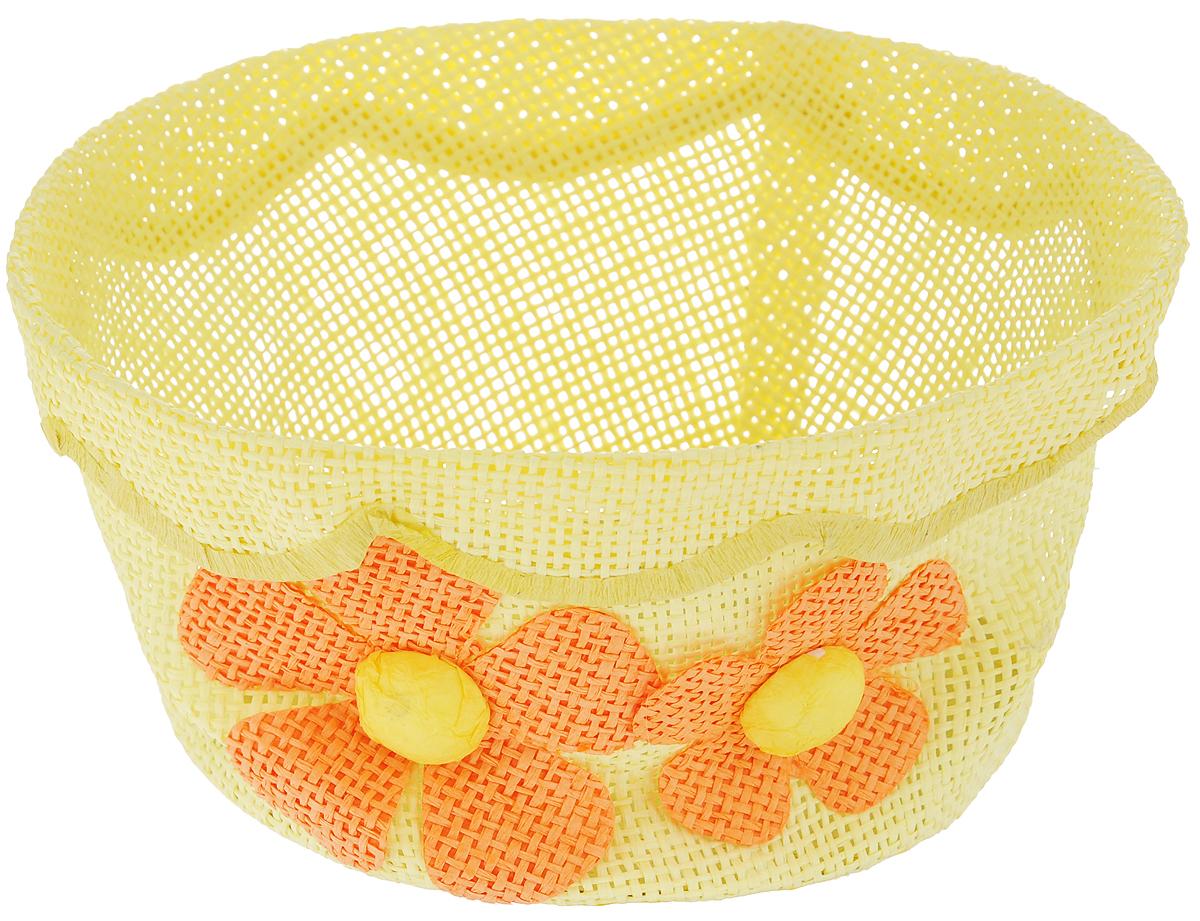 Корзина декоративная Home Queen Незабудки, цвет: желтый, диаметр 17,5 см64329_3Декоративная корзинка Home Queen Незабудки прекрасно подойдет для хранения пасхальных яиц, а также различных мелочей. Корзинка с цветочным декором выполнена из прочной бумаги под плетение, дно изготовлено из плотного картона. Такая корзинка украсит интерьер дома к Пасхе, внесет частичку тепла и веселья в ваш дом.