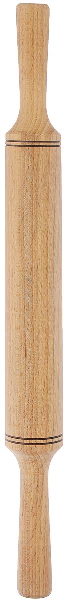 """Скалка """"Хозяюшка"""", изготовленная из бука, оснащена двумя удобными ручками.Бук прекрасно поддается шлифовке и полировке. Он не боится влаги, но, как в случае со всеми без исключения скалками из древесины, вопрос влагостойкости решается пропиткой дерева специальным минеральным или льняным маслом. Масло защищает скалку от коробления и растрескивания. Именно поэтому все скалки """"Хозяюшка"""" обработаны льняным маслом и упакованы в пленку. Такая скалка поможет с легкостью готовить ваши любимые блюда. Длина скалки: 43 см. Длина валика: 23,5 см. Диаметр валика: 4,3 см."""