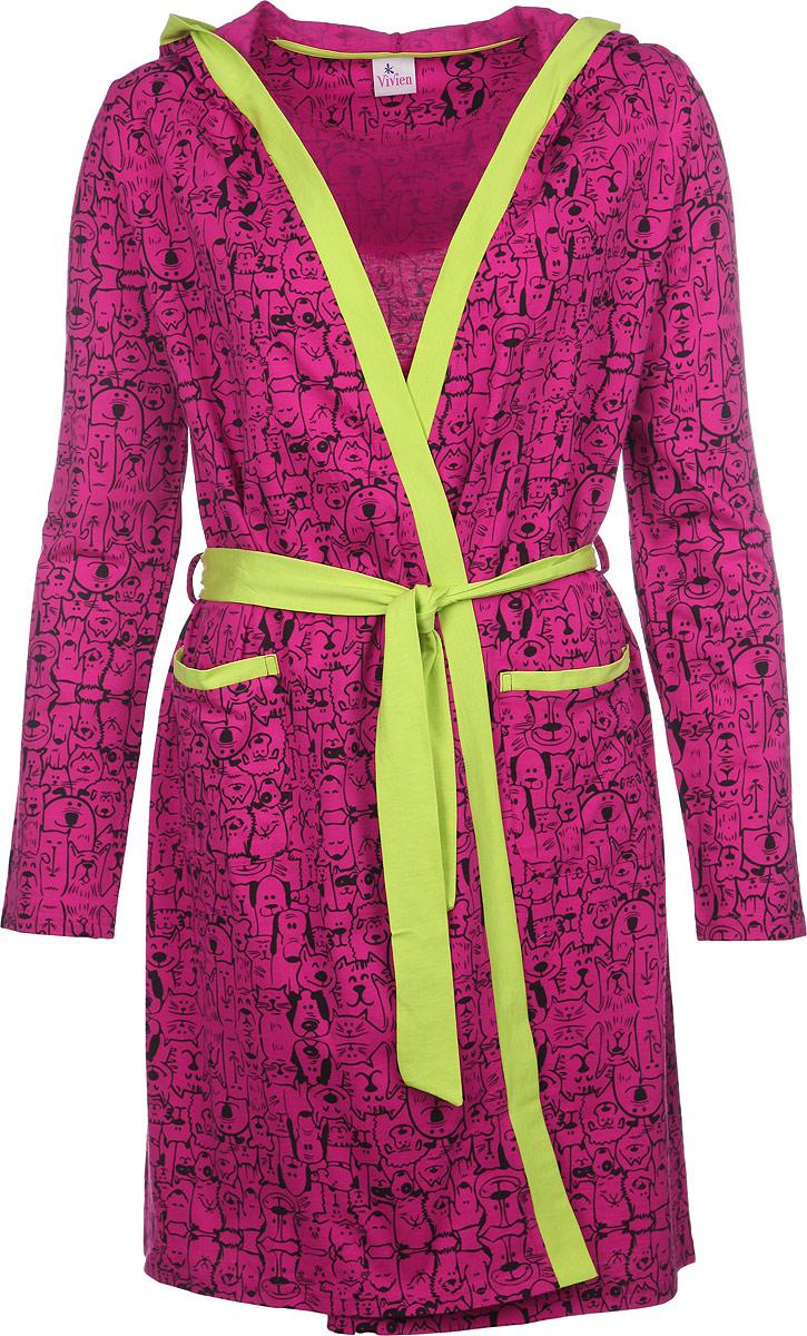 Халат женский Vivien, цвет: фуксия, черный, салатовый. AW15-UAT-LDG-457. Размер 48/50AW15-UAT-LDG-457Удобный и красивый халат Vivien, изготовленный из натурального хлопка, замечательно подходит в качестве домашней одежды. Модель с запахом имеет длинные рукава и на талии завязывается на поясок. Также у халата имеется капюшон. Спереди изделие дополнено двумя накладными карманами. Халат оформлен оригинальным принтом и по краям дополнен контрастной трикотажной бейкой. Одежда, изготовленная из хлопка, приятна к телу, сохраняет тепло в холодное время года и дарит прохладу в теплое, позволяет коже дышать.Такой халат сделает ваш отдых комфортным и станет удачным дополнением гардероба.