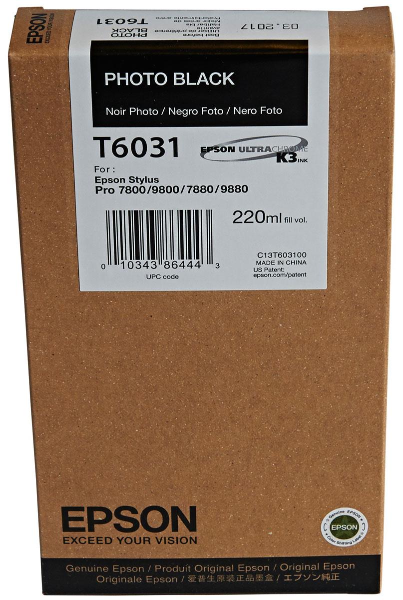 Epson T6031 (C13T603100), Photo Black картридж для Stylus PRO 7800/7880/9800/9880C13T603100Картридж Epson T6031 для струйных принтеров Epson Stylus PRO 7800/7880/9800/9880.Расходные материалы Epson для печати максимизируют характеристики принтера. Обеспечивают повышенную четкость изображения и плавность переходов оттенков и полутонов, позволяют отображать мельчайшие детали изображения. Обеспечивают надежное качество печати.