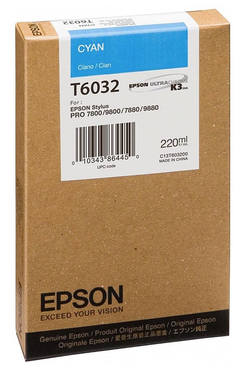 Epson T6032 (C13T603200), Cyan картридж для Stylus PRO 7800/7880/9800/9880C13T603200Картридж Epson T6032 для струйных принтеров Epson Stylus PRO 7800/7880/9800/9880.Расходные материалы Epson для печати максимизируют характеристики принтера. Обеспечивают повышенную четкость изображения и плавность переходов оттенков и полутонов, позволяют отображать мельчайшие детали изображения. Обеспечивают надежное качество печати.