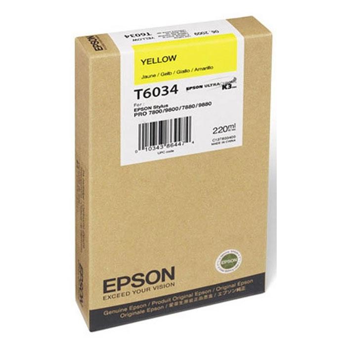 Epson T6034 (C13T603400), Yellow картридж для Stylus PRO 7800/7880/9800/9880C13T603400Картридж Epson T6034 для струйных принтеров Epson Stylus PRO 7800/7880/9800/9880.Расходные материалы Epson для печати максимизируют характеристики принтера. Обеспечивают повышенную четкость изображения и плавность переходов оттенков и полутонов, позволяют отображать мельчайшие детали изображения. Обеспечивают надежное качество печати.